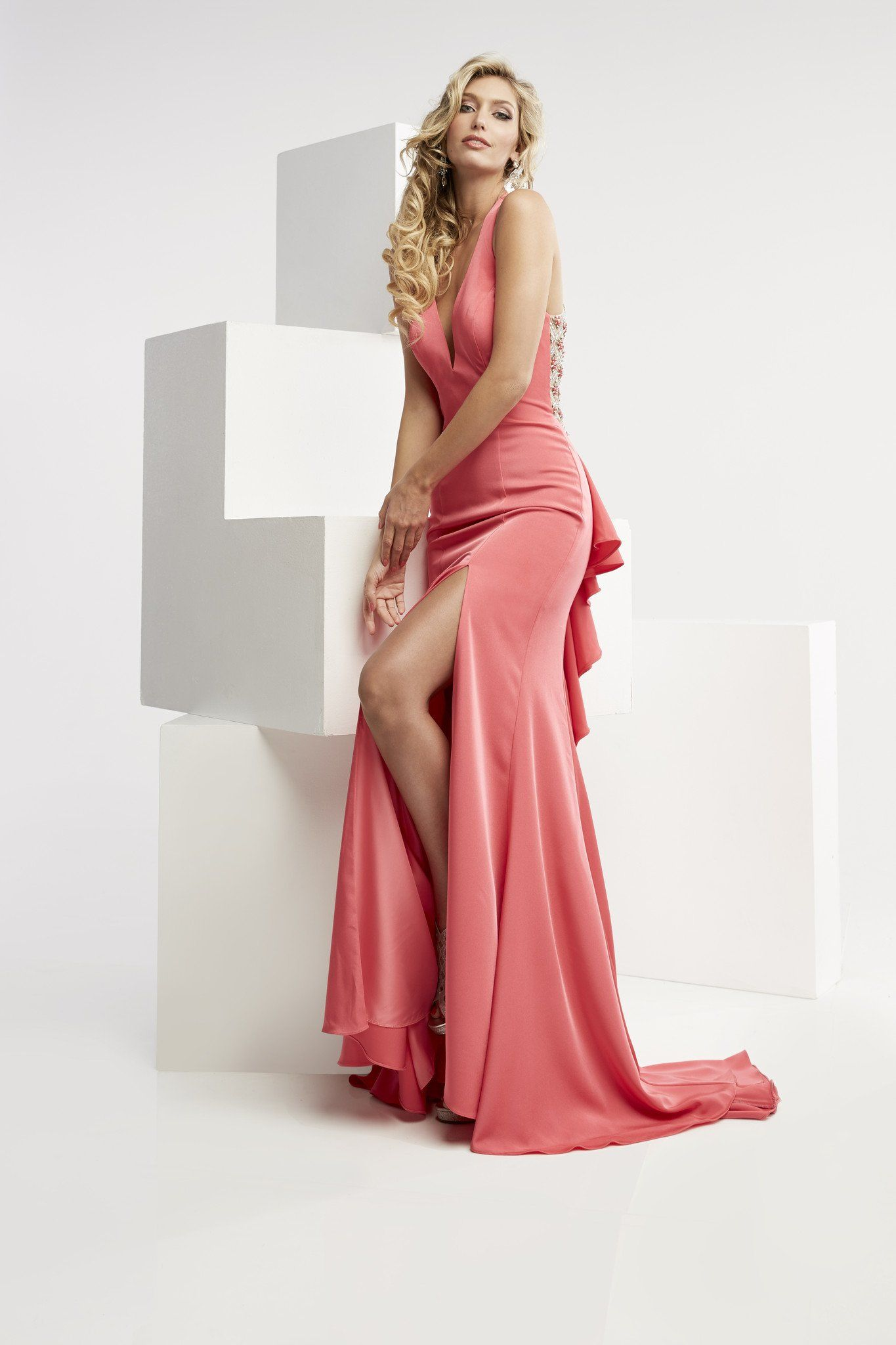 Jasz Couture 5980 Hot Pink Slit Prom Dress