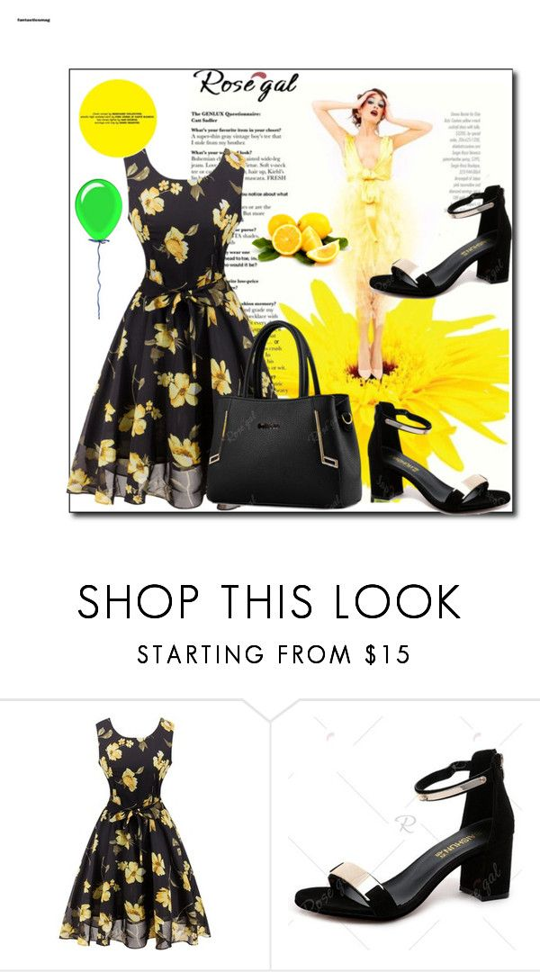 """""""Floral, yellow and black!"""" by azra-90 ❤ liked on Polyvore featuring vintage"""