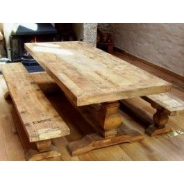 2 4m Reclaimed Elm Pedestal Dining Table With 2 Backless Benches
