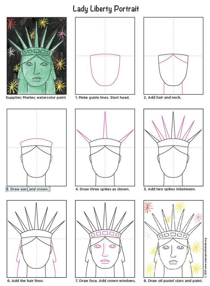 Statue Of Liberty Drawing Step By Step Draw the Statue of Liberty Face Art classroom Art