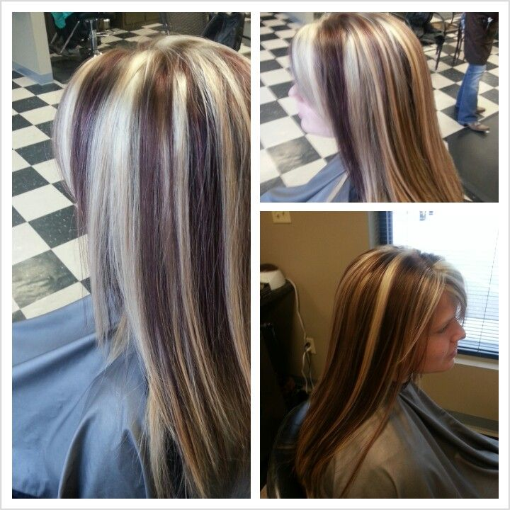 Blonde red and brown chunky highlights i love hair blonde red and brown chunky highlights pmusecretfo Choice Image