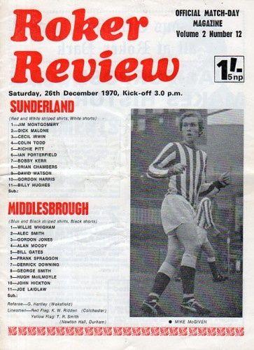 Sunderland v Middlesbrough December 26th.1970 match