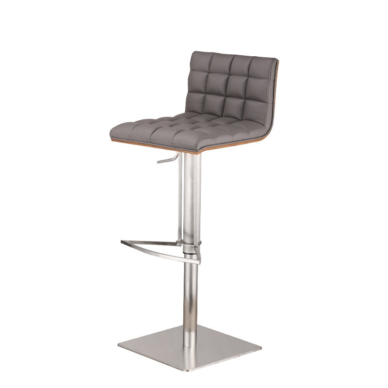 Stainless Steel Gray Adjustable Bar Stool Oslo Adjustable Bar Stools Bar Stools Swivel Bar Stools