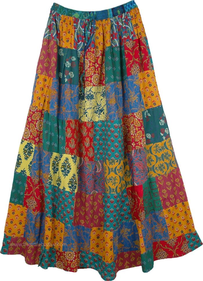 74aca2907c Gypsy Hippie Patchwork Summer Maxi Skirt in 2019 | Fun Happy ...