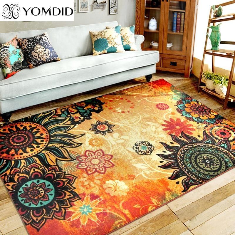 Bohemian Style Sunflower Rug Retro Style Living Room Bohemian Carpets Living Room Carpet #sunflower #rug #for #living #room