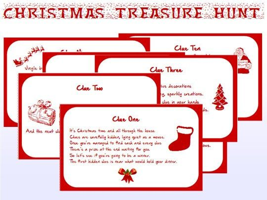 Indoor Christmas Treasure Hunt Clues Printable