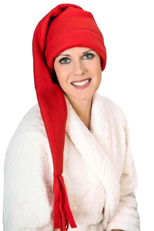 68bb63155ce Elf Sleep Cap - Fleece Stocking Sleeping Hat for Men or Women ...