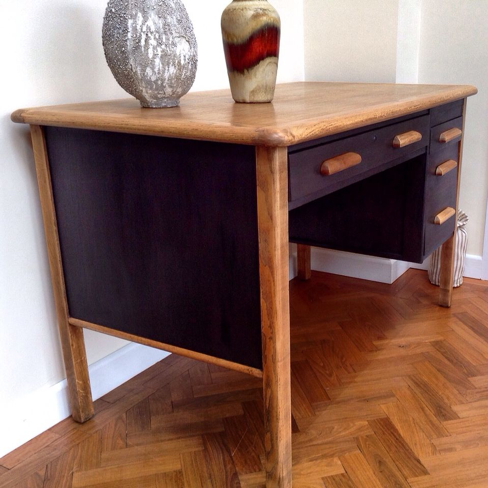 RETRO VINTAGE OAK TEACHERu0027S DESK Hand Painted In Annie Sloan Graphite. My  Latest Commission Complete