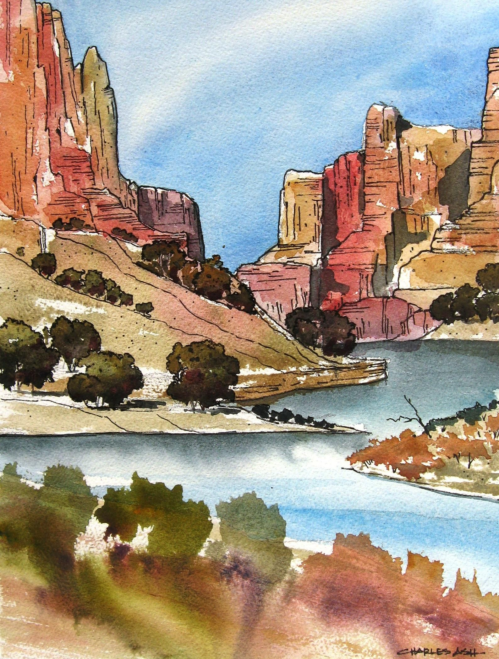 Little Colorado River Original Watercolor Painting Etsy