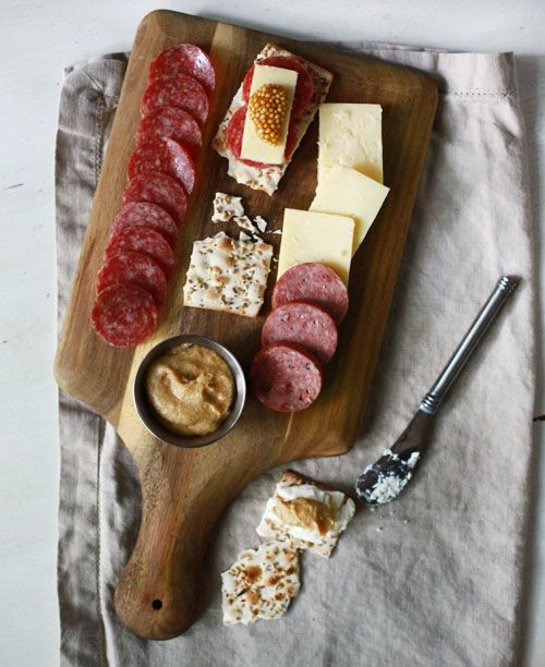 I LOVE that I can have this on my diet! Cheese and meat tray. Small Measures: Homemade Mustard | Design*Sponge