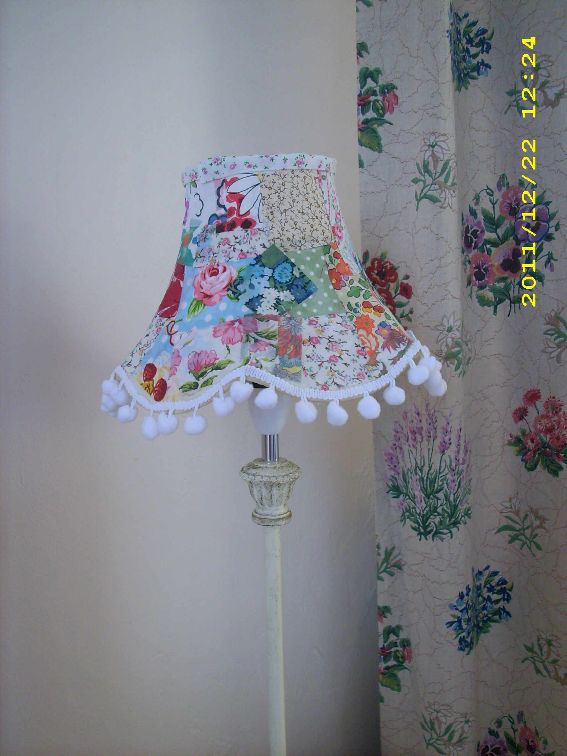Diy Patchwork Lampshade Using Fabric Scraps Mod Podge These Started Out As Old Cream Lampshades Diy Lamp Shade Lampshades Diy Lamp