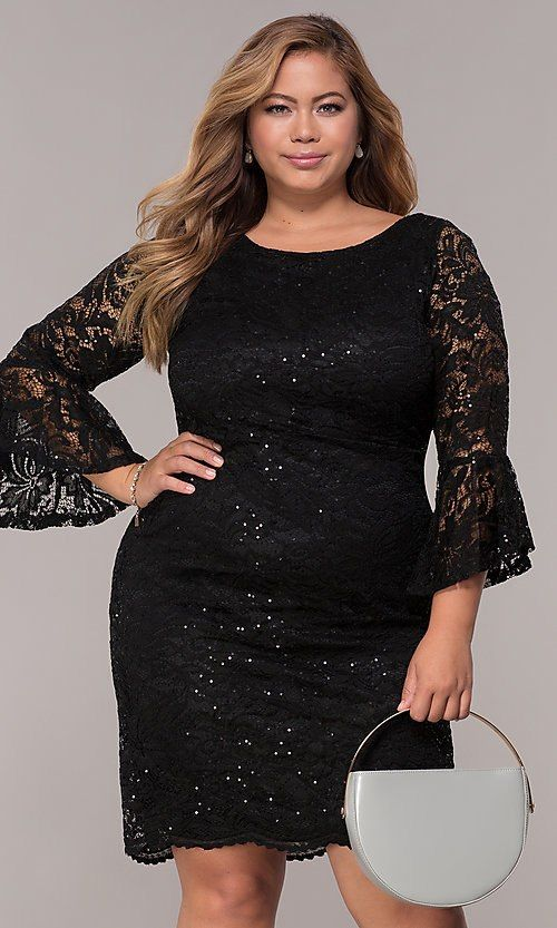 be7b6c47 Image of sequin-lace plus-size short black party dress. Style: JU-TI-t91987  Front Image