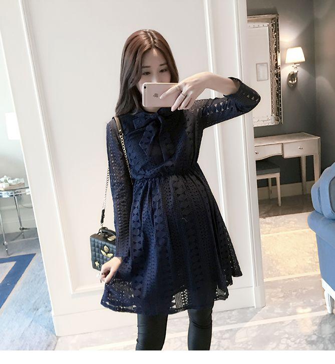 c7d2c293b3df9 2017 new Korean fashion pregnant women coat Pregnant women dress long  paragraph lace Korea was thin