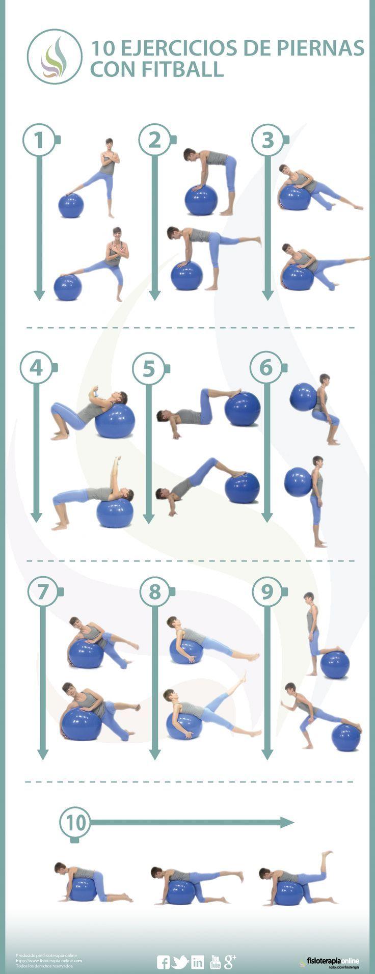 10 ejercicios para tonificar y recuperar tus piernas con fitball - Pinset #pilatesworkoutroutine
