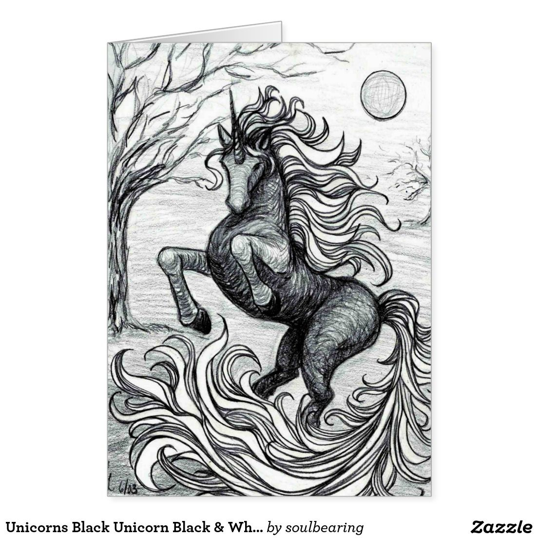 Unicorn Pencil Drawing Black And White