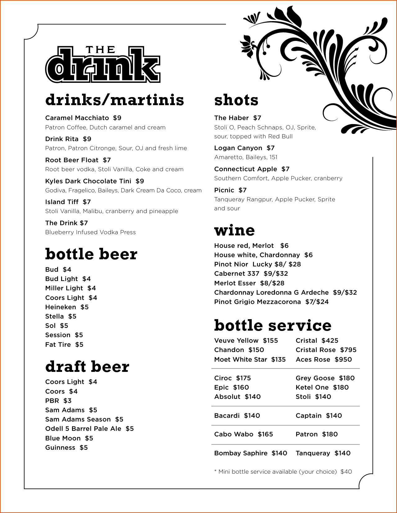 008 Template Ideas Drink Menu Microsoft Word Impressive