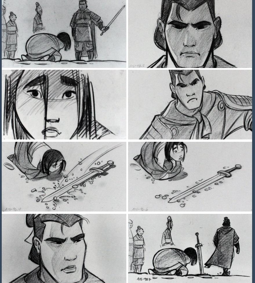 b70808d16d8 Mulan storyboard art by Dean DeBlois