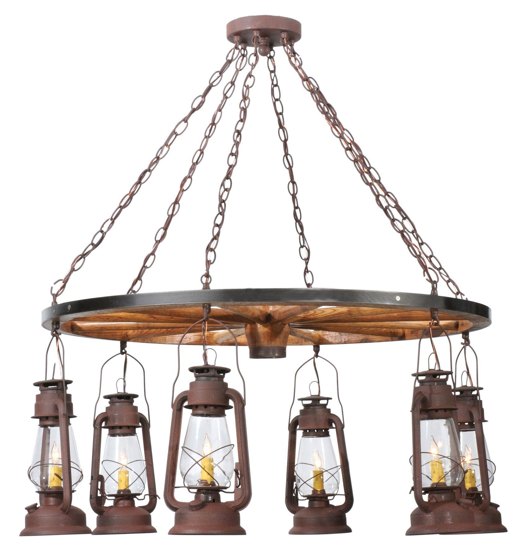Meyda Miners Lantern Wagon Wheel Six Light Chandelier