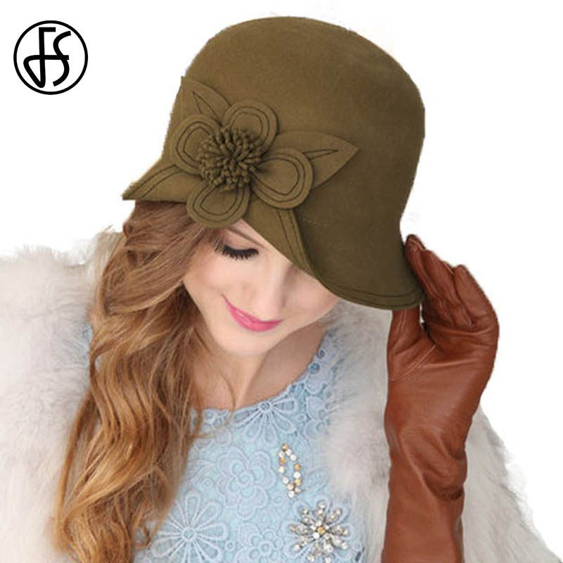 4ab0d31064e FS 100% Australia Wool Fedora Cap Winter Dark Khaki Wide Brim Flowers Hat  For Women