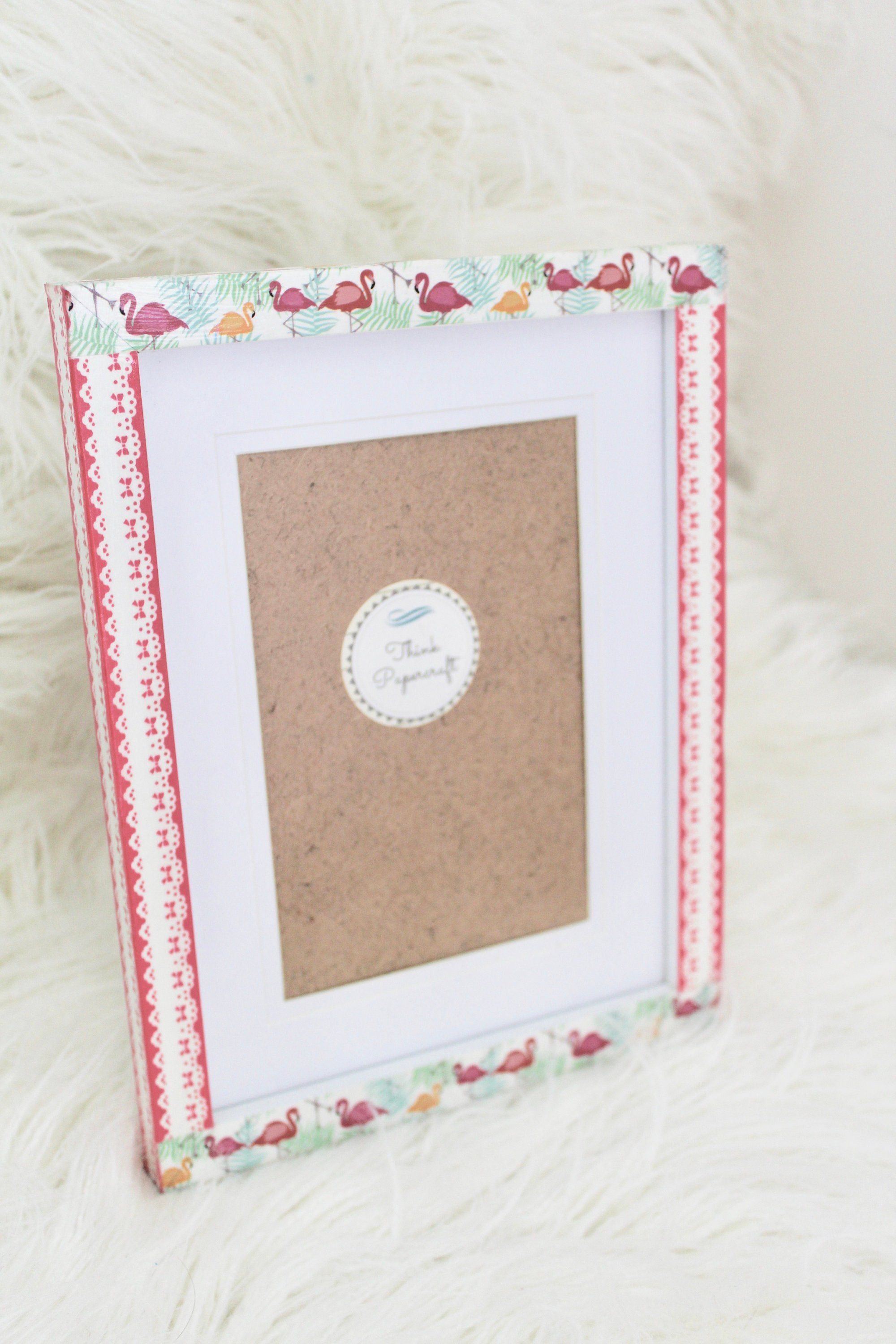 Pink Flamingo Decorated Photo Picture Frame 4x6 Inches 10x15 Cms Mount Or Frame 6x8 Inches 15x20 Cms With A Lace Pattern Unique Gift Photo Decor Pink Flamingos Photo Picture Frames