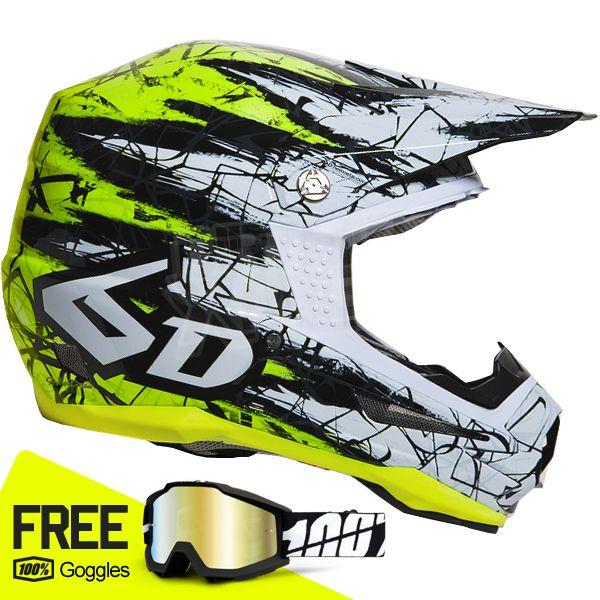 6d Kids Atr 1 Helmet Chaos Yellow Motocross Helmets Bike Helmet Design Kids Bike Helmet