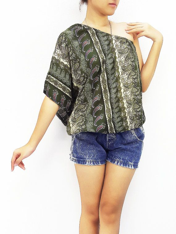 f01814037f7e6c Women Fashion Printed Rayon Tops Open Shoulder Tops Blouse Women Clothing  Bohemian Gypsy Clothing Shirt Sexy Clothes Paisley Olive (TP9)