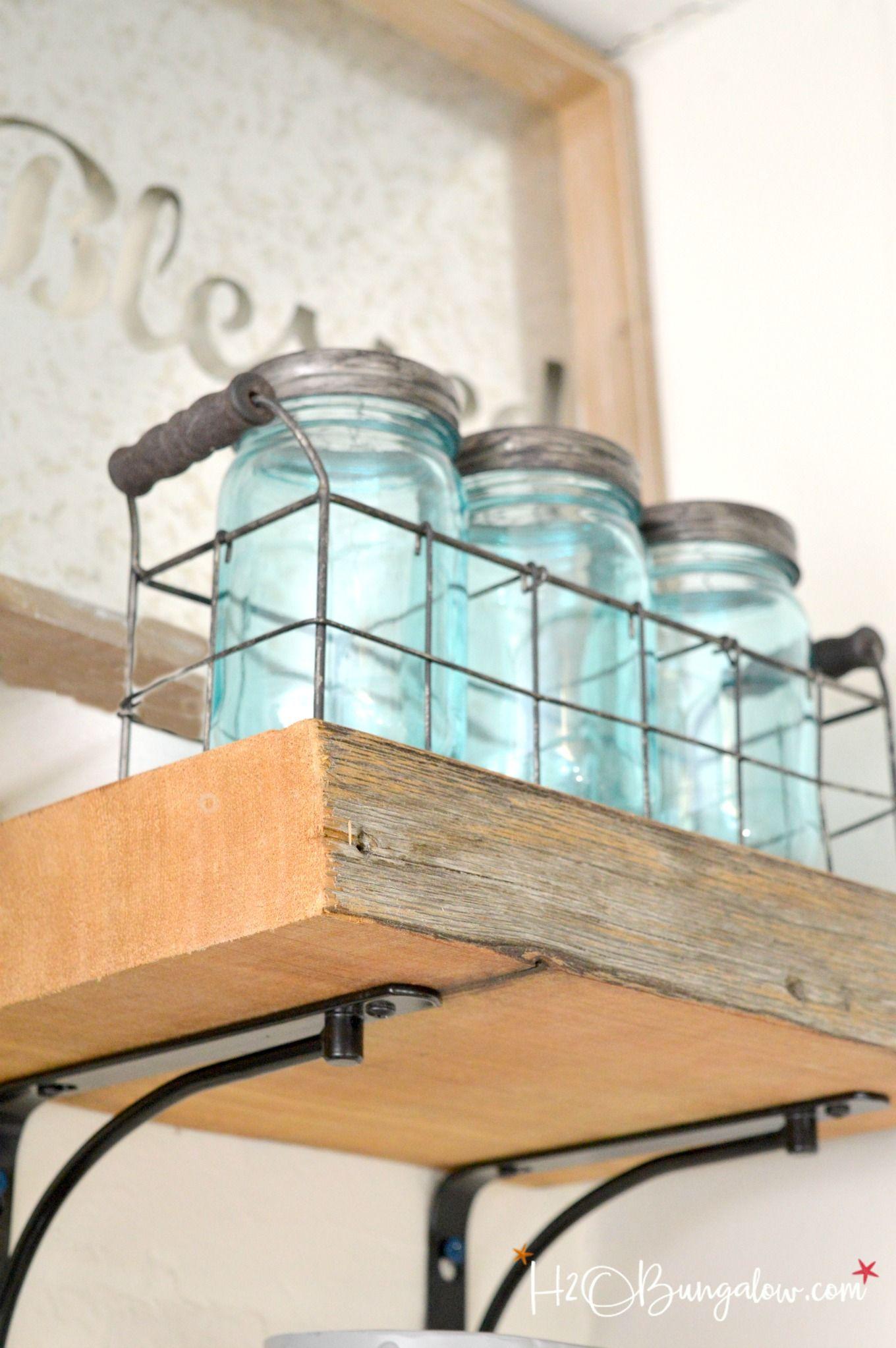 DIY Reclaimed Wood Kitchen Shelves | Kitchen shelves, Blue mason ...
