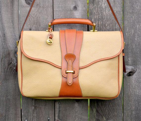 Vintage Dooney Bourke Briefcase Laptop Bag Wheat Leather