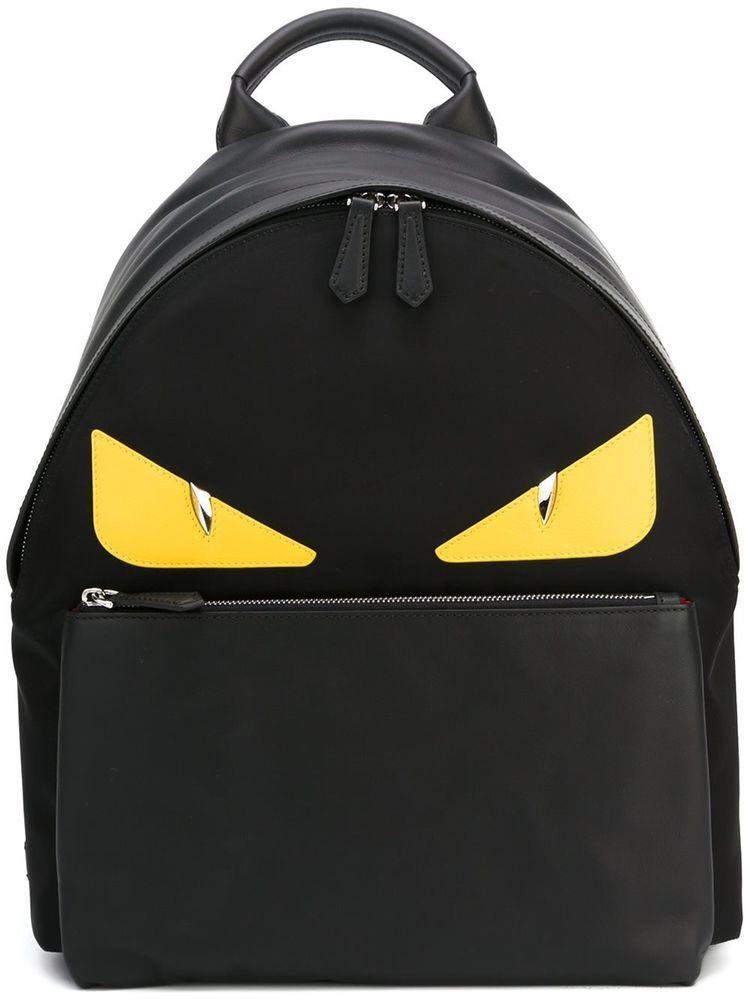 9a4219bd42fd FENDI BACKPACK BAG BUGS BACKPACK BLACK MONSTER EYES 7VZ012 8FC F0R2A  FENDI   Backpack