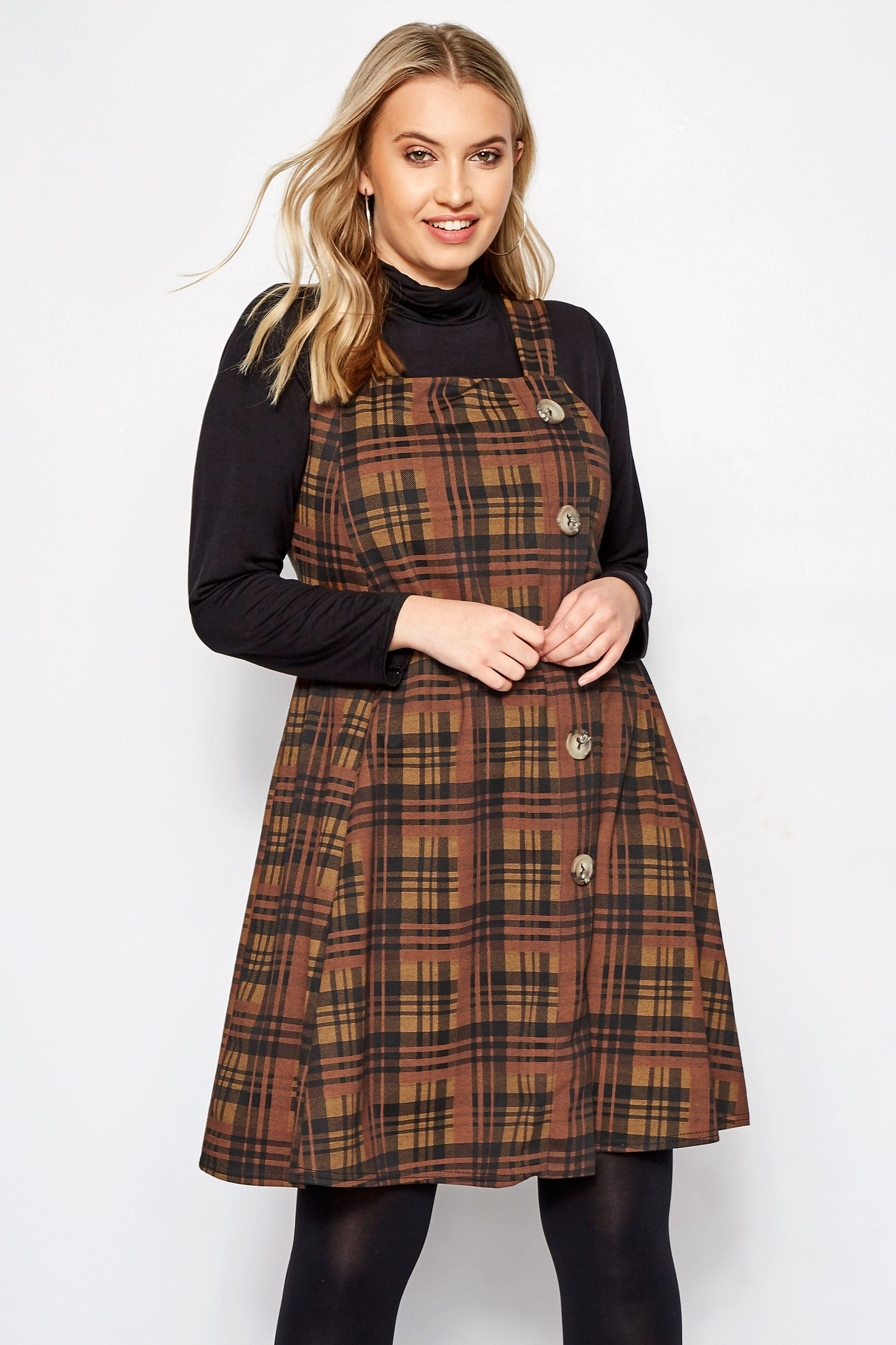 Brown Check Button Pinafore Dress Pinafore Dress Clothes Plus