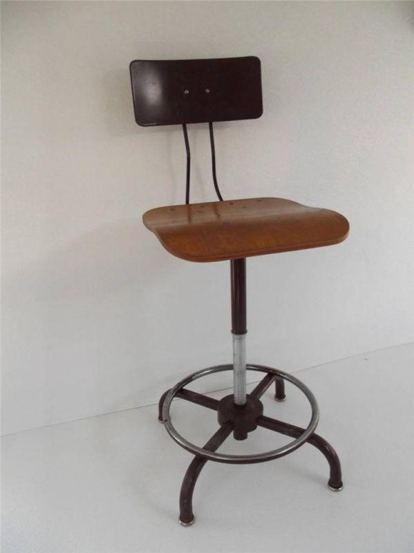 Vintage Mid Century Modern Industrial Ajustrite Drafting Stool Chair Stool Chair Modern Industrial Stool