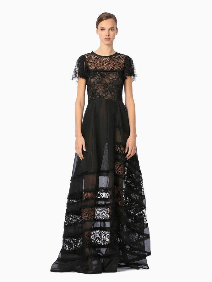 Silk Double Organza S/S Ball Gown With Lace Combo | Lace ...