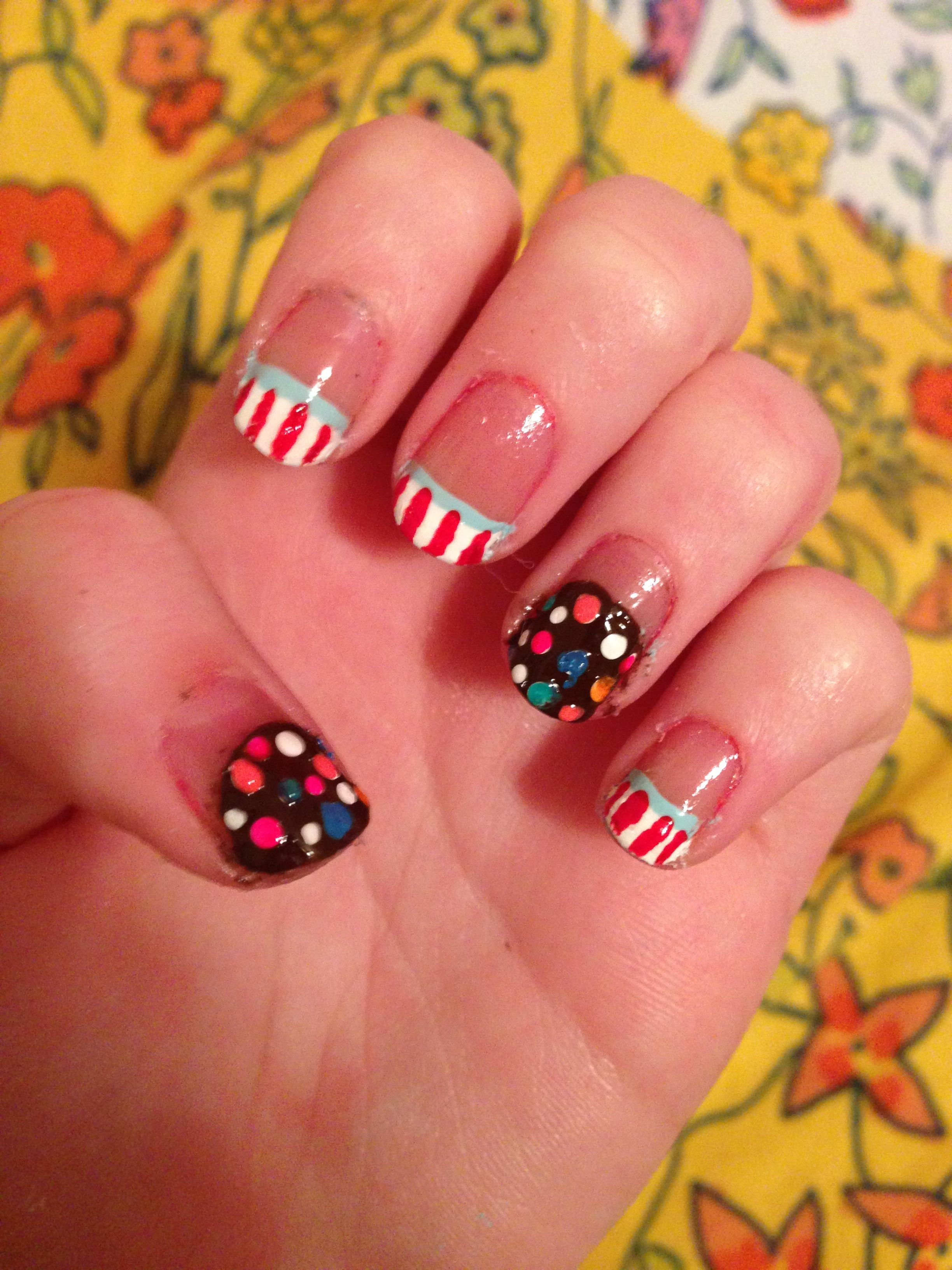 Candy crush inspired nail art. :) That game is so addictive! | Nails ...