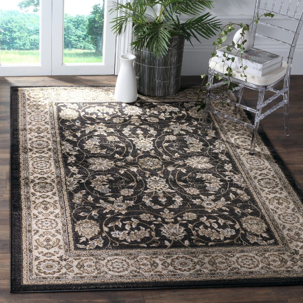 Lyndhurst Collection 5 3 X 7 6 Rug In Anthracite And Cream