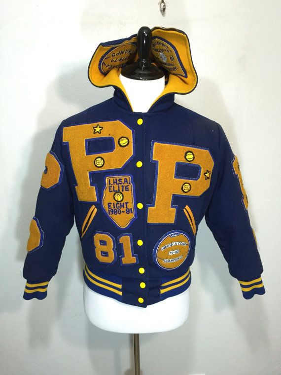 0a67ed32ebb 80 s vintage varsity jacket with patches hooded lettermans jacket wool snap  button