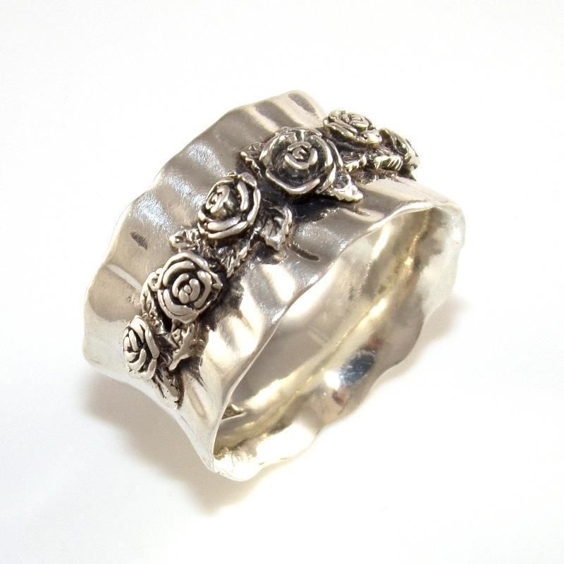 Or Paz Sterling Silver Gathered Rose Flower Wide Band Ring Size 9