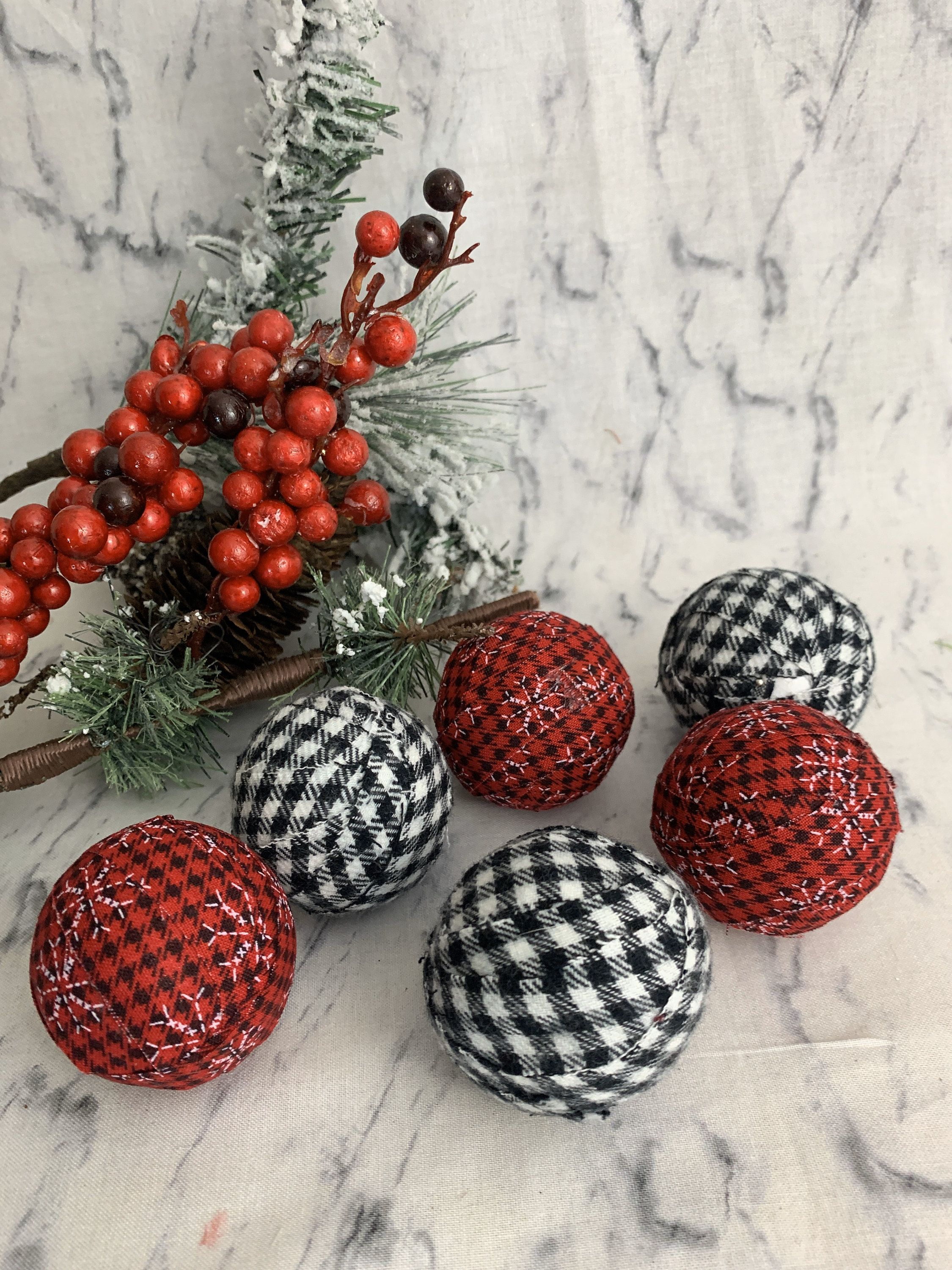 Buffalo Check Combination 2 Red And Black White Fabric Wrapped Bowl Filler Balls Set Of Six Bowl Fillers Coffee Table Bowl Holiday Set