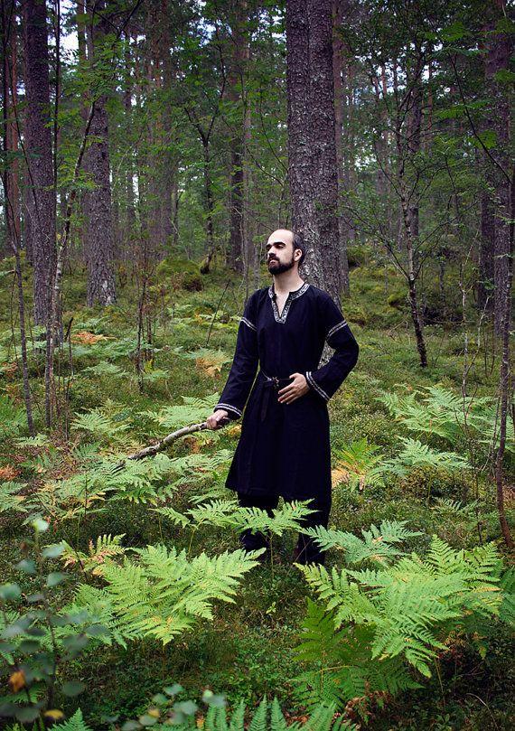 Men cotton medieval tunic black shirt fantasy undertunic ranger tunic costume jerkin handfasting MXIqn