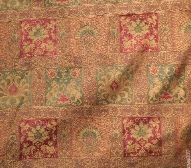 Medieval Red Green Gold Lion Upholstery Fabric Tapestry Home Decor