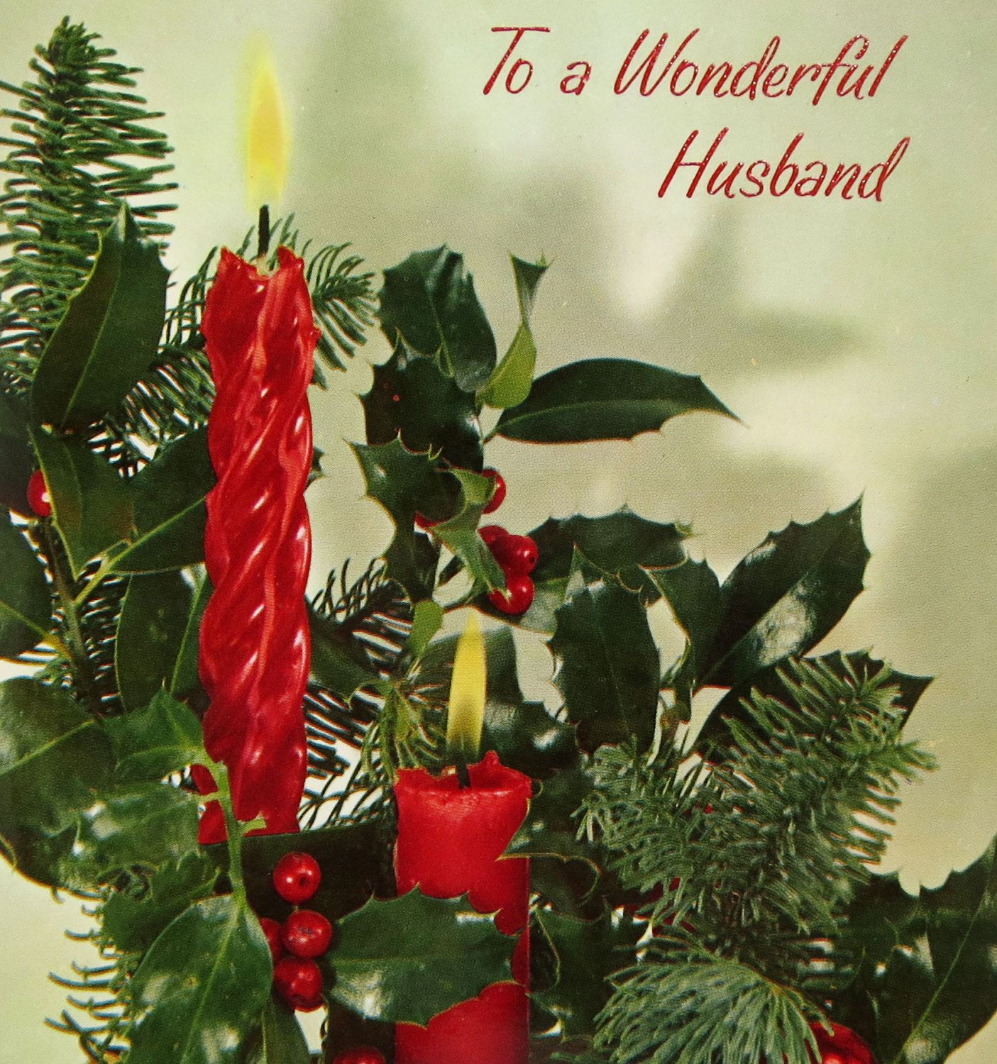 Vintage hallmark glossy christmas card for your husband with lovely vintage hallmark glossy christmas card for your husband with lovely red candles holly and pine fronds m4hsunfo