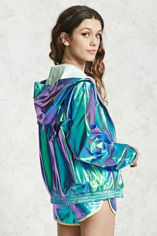 772769bc11d A holographic windbreaker jacket featuring a hood