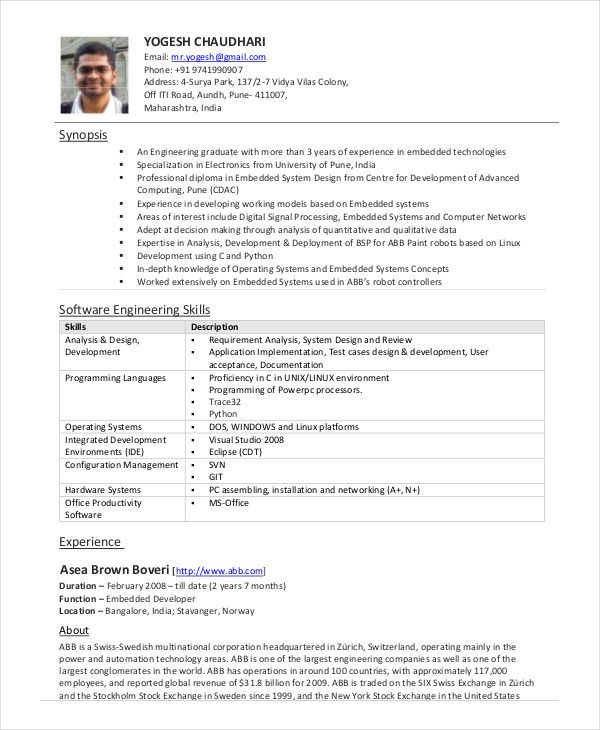 software engineer resume example free word pdf documents - example software engineer resume