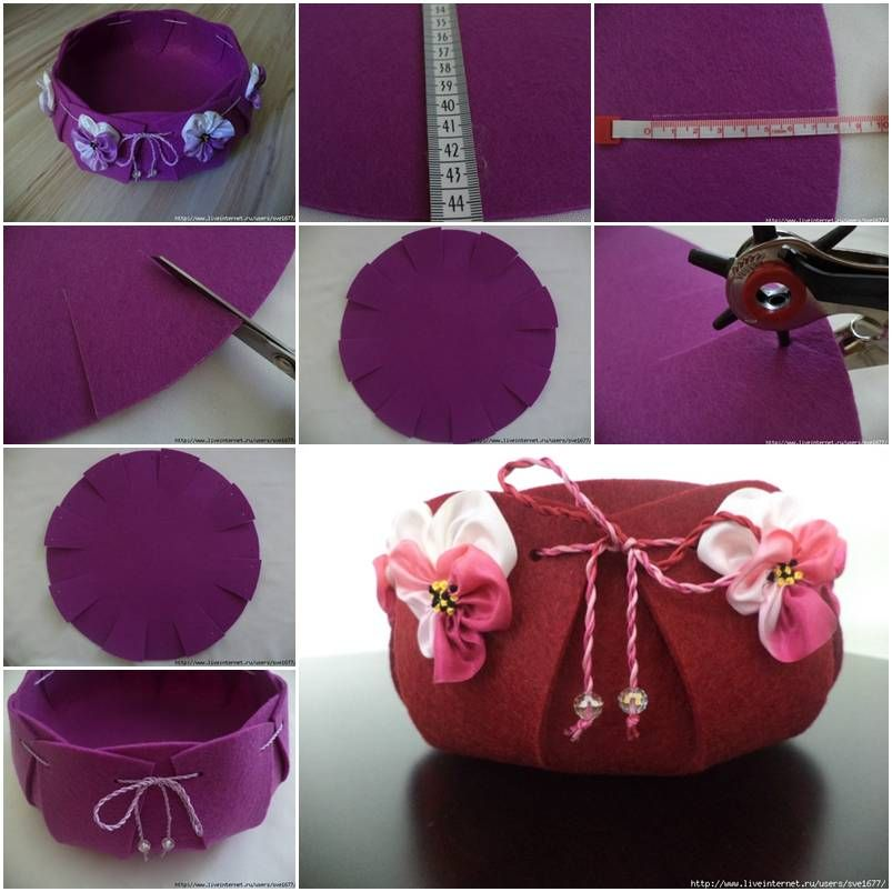 How To Make Beautiful Felt Basket Step By DIY Tutorial Instructions