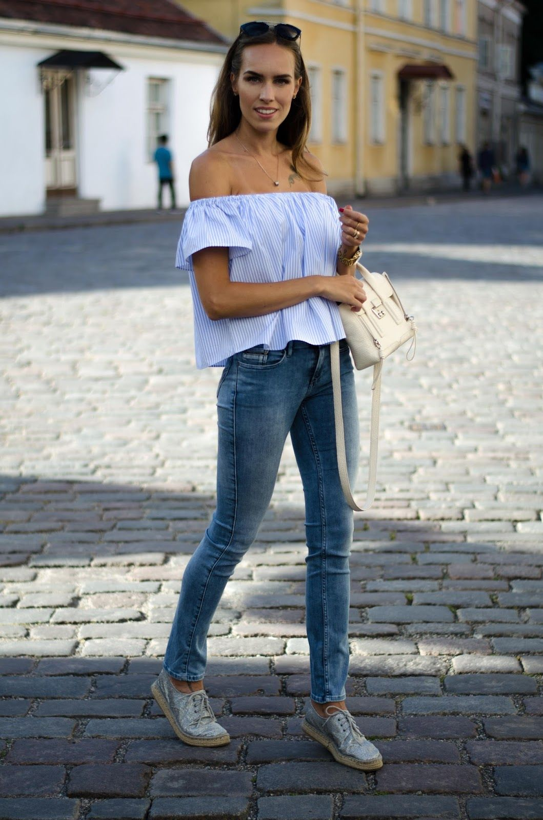 dd2e8b00e0d kristjaana mere off shoulder top with jeans outfit