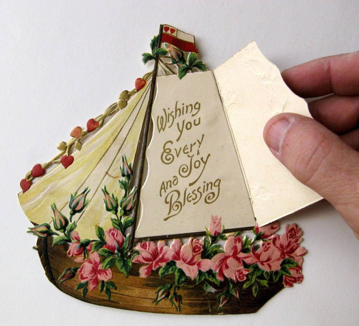 Vintage Die Cut Victorian Valentine Card Scrap of Sailboat w Roses and Hearts   eBay