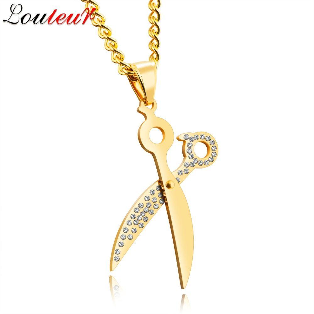 Louleur new gold color scissors pendant necklace men jewelry
