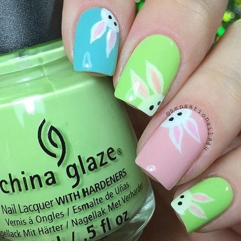 25 Bunny Nail Designs for Spring Mani - Pretty Designs - 25 Bunny Nail Designs For Spring Mani Bunny Nails, Bunny And Spring