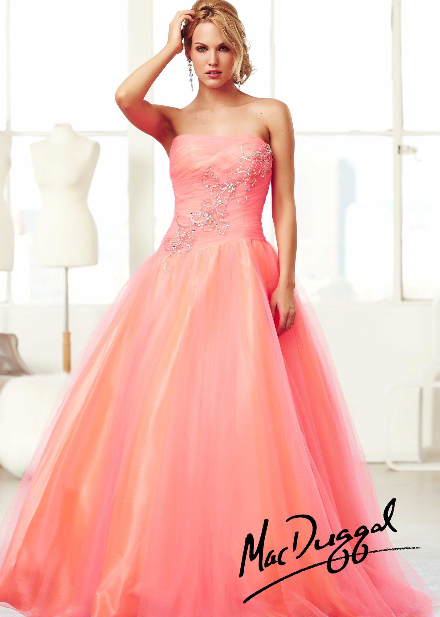 Mac duggal h neon coral strapless ball gown prom dresses