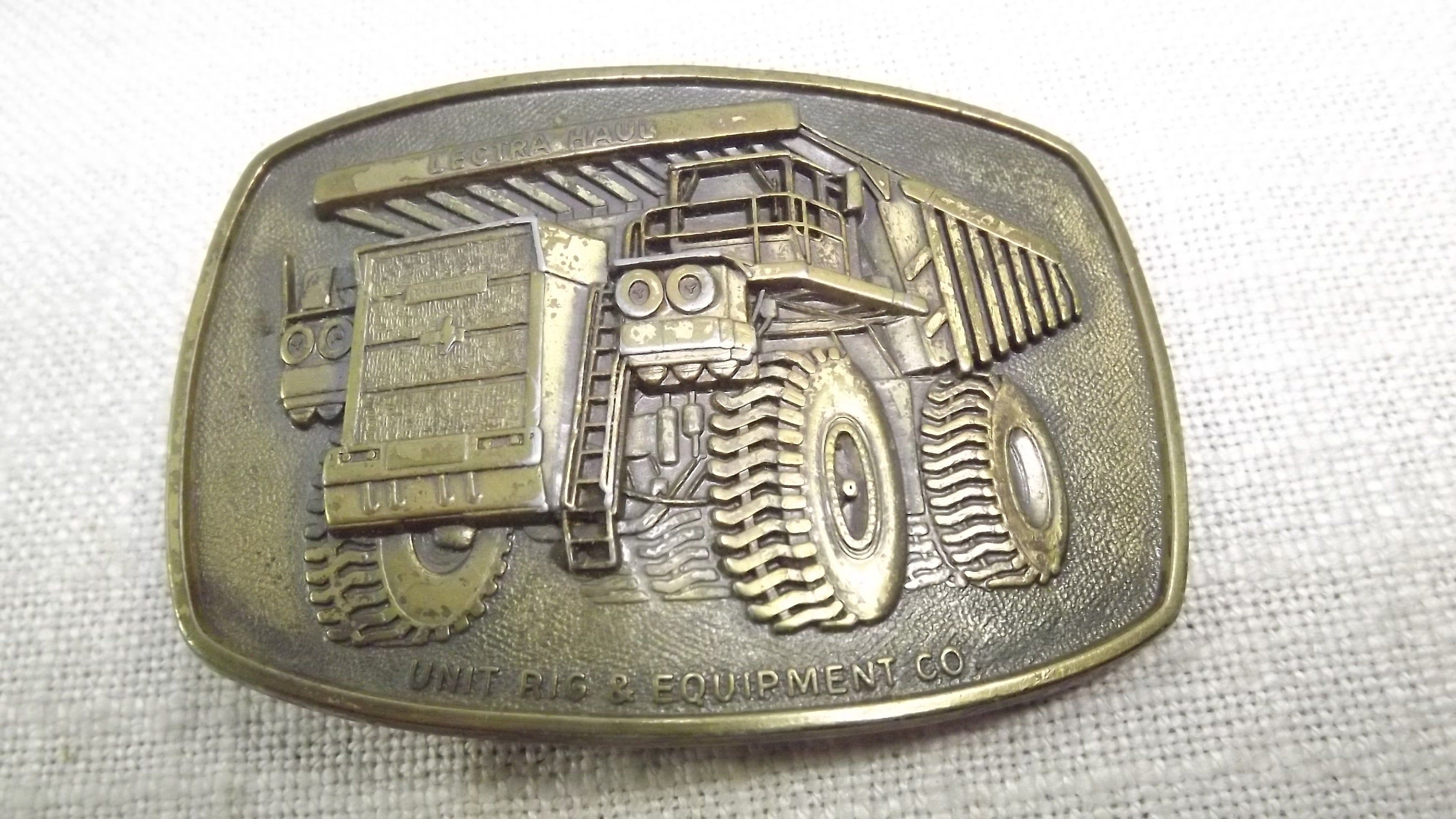 Distressed Brass Lectra Haul Belt Buckle, Vintage Heavy Equipment/Transportation Sector #pictureplacemeant