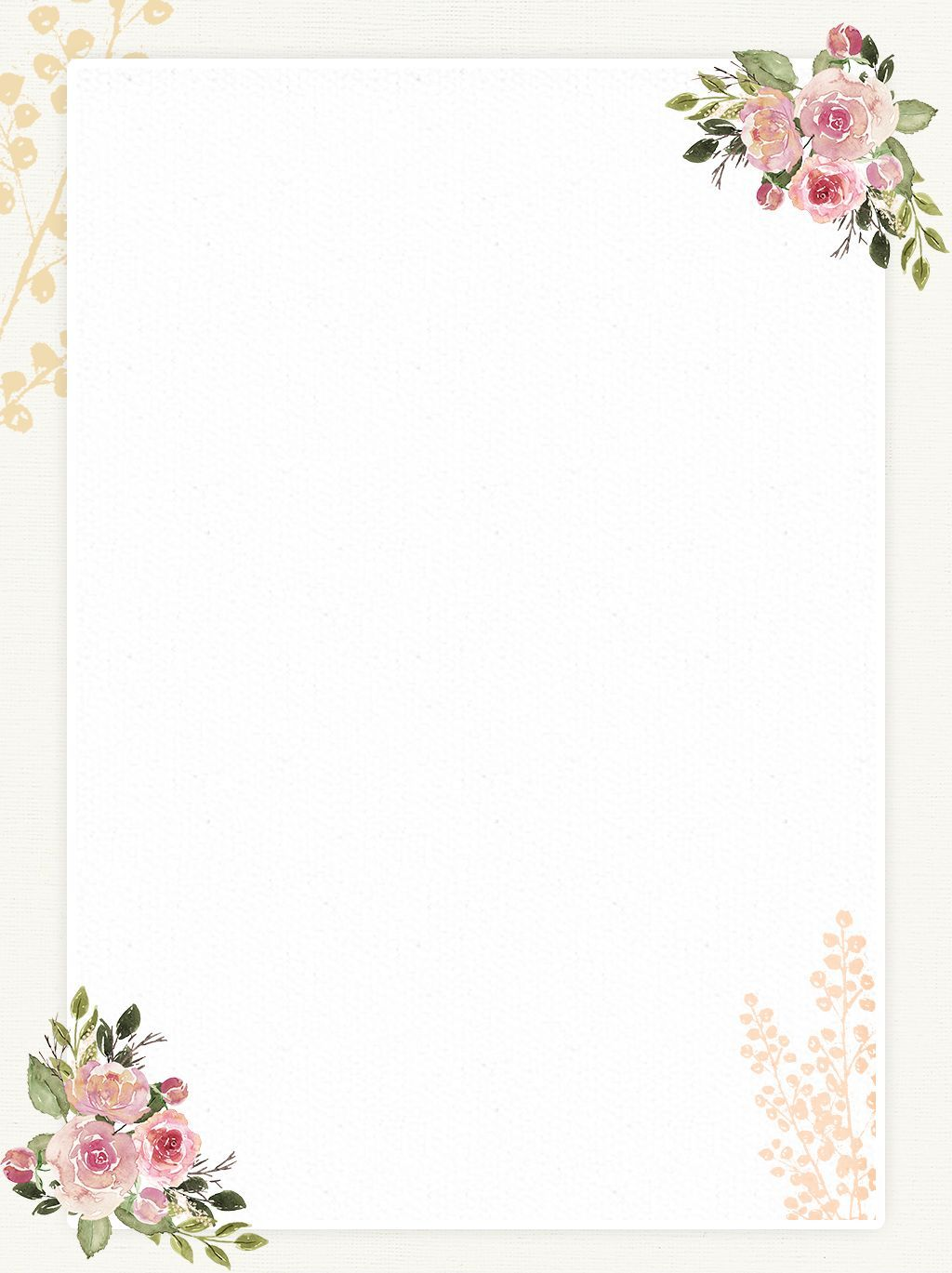 Hand Drawn Vintage Flowers Romantic Paper Background Source File Molduras Para Convites De Casamento Como Desenhar Maos Fundo Do Casamento